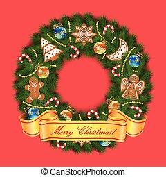花輪, クリスマス, 背景, 赤