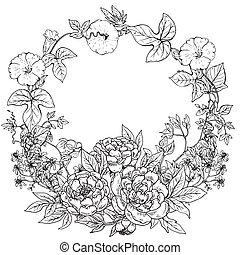 花輪, シャクヤク, ベクトル, 植物, 手, フレーム, 引かれる, 花
