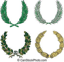 花輪, セット, 4, heraldic