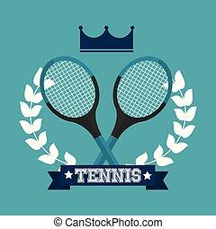 花輪, テニス, 王冠, 勝者, ラケット, 月桂樹, スポーツ