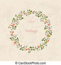 花輪, デザイン, 招待, 花, あなたの, カード