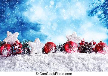 花輪, ボール, クリスマス, 星, 赤
