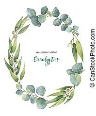 花輪, ユーカリ, ベクトル, 水彩画, 葉, オバール, 緑, branches.