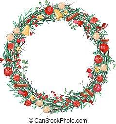 花輪, ラウンド, クリスマス