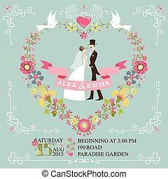 花輪, レトロ, 結婚式, 花, ボーダー, 花嫁, invitation., 花婿