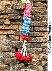 花輪, 上に, ∥, 古い, brickwall