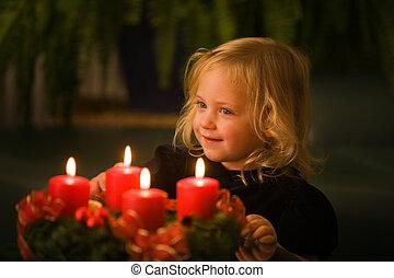 花輪, 到来, クリスマス, 子供