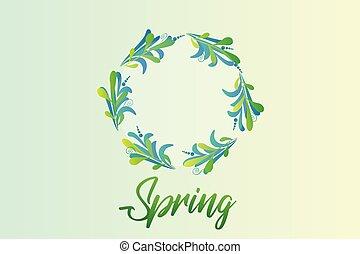 花輪, 春, leafs, 緑, ベクトル