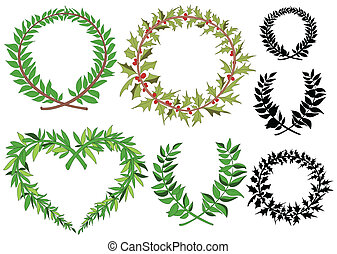 花輪, 月桂樹, ベクトル, セット