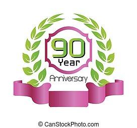 花輪, 月桂樹, 年, 記念日, 90