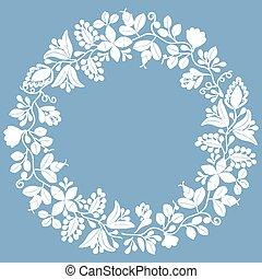 花輪, 月桂樹, 白, ベクトル, フレーム