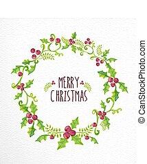花輪, 水彩画, ベリー, 陽気, 西洋ヒイラギ, クリスマスカード
