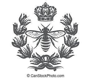花輪, 王冠, ベクトル, 帝国, モノクローム, イラスト, 蜂, 月桂樹