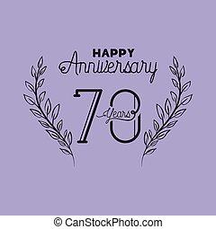 花輪, 王冠, 数, 記念日, 70, 幸せ