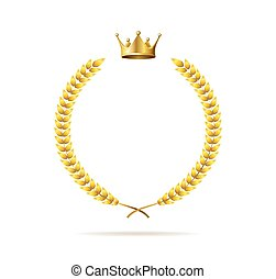 花輪, 現実的, 詳しい, 3d, set., 王冠, 月桂樹, 金, ベクトル