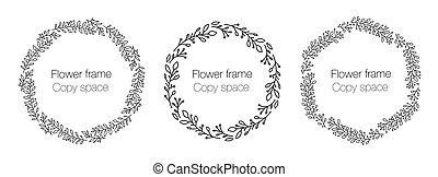 花輪, 結婚式, space., コレクション, art., 花輪, カード, 花, 円, レトロ, 花, フレーム, コピー, 理想, 取り決められた, 形, labels., セット, 線, かわいい, 招待, 挨拶