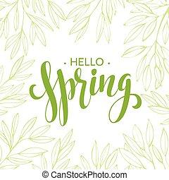 花輪, 葉, ブランチ, イラスト, ベクトル, 言葉, 春