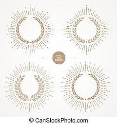 花輪, 金, セット, ベクトル, 月桂樹