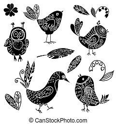 花, いたずら書き, シルエット, セット, 黒い鳥