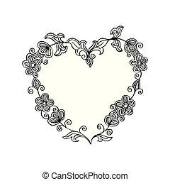 花, いたずら書き, フレーム, heart., 形