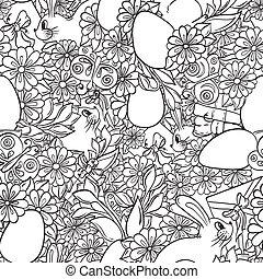 花, いたずら書き, 抽象的, pattern., seamless