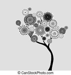 花, いたずら書き, 木, 抽象的
