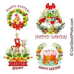 花, うさぎ, 卵, ケーキ, 休日, イースター