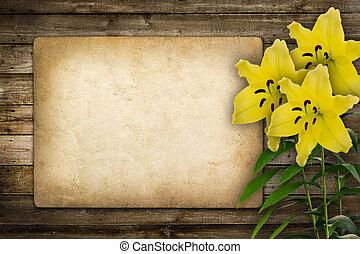 花, お祝い, 黄色, 招待, ユリ, ∥あるいは∥, カード