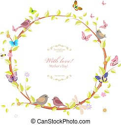 花, かわいい, 花輪, デザイン, あなたの