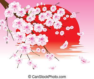 花, さくらんぼ, ベクトル, ブランチ