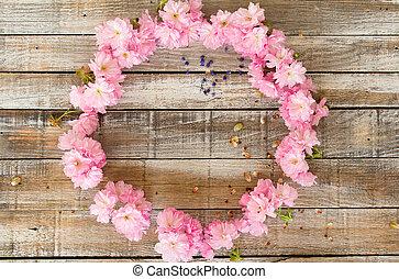 花, さくらんぼ, 手ざわり, 木, 設計された, 円, 赤