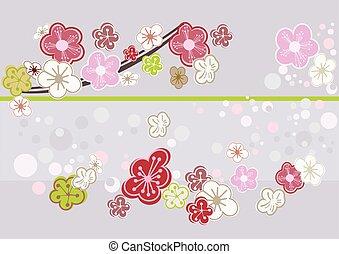 花, さくらんぼ, 抽象的な 芸術, picture.
