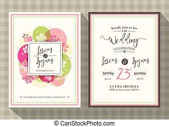 花, さくらんぼ, 招待, テンプレート, 結婚式, 花, カード
