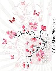 花, さくらんぼ, 背景