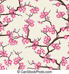 花, さくらんぼ, 花, pattern., seamless