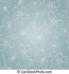花, さくらんぼ, pattern., seamless