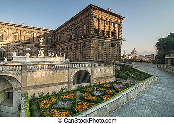 花, そして, a, 光景, の, ∥, duomo, ∥において∥, palazzo, pitti