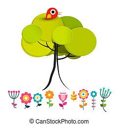 花, ∥で∥, 鳥, 上に, 木, ベクトル