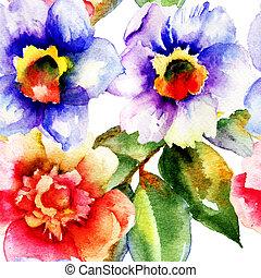 花, ばら, 絵, 水彩画, スイセン