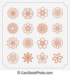 花, アイコン, 薄いライン, セット, スタイル