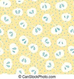 花, アップル, パターン, レトロ