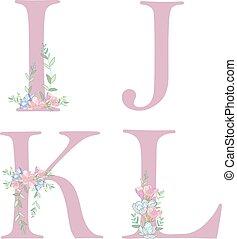 花, アルファベット文字, c.
