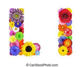 花, アルファベット, -, 隔離された, l, 手紙, 白