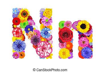 花, アルファベット, -, 隔離された, n, 手紙, 白