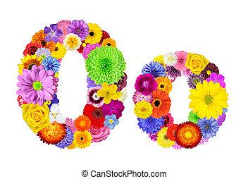 花, アルファベット, -, 隔離された, o, 手紙, 白