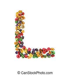 花, アルファベット, l, 隔離された, 乾かされた, 背景, 白