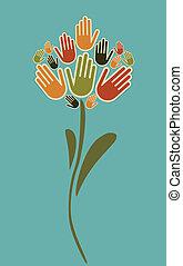 花, イラスト, 手