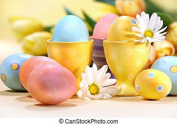 花, イースター, カラフルである, 卵