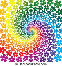花, カラフルである, らせん状に動きなさい, 背景