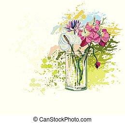 花, カラフルである, 花束, つぼ, ガラス, ベクトル, 背景